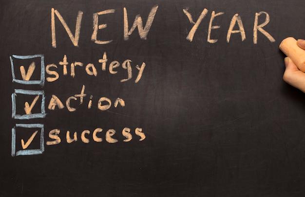 Lista di controllo per la risoluzione del nuovo anno su sfondo lavagna