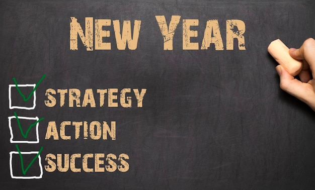 Lista di controllo per la risoluzione del nuovo anno sulla lavagna