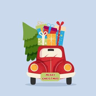 Scheda dell'annata creativa di capodanno felice anno nuovo. macchina rossa, regali. concetto di vacanza. biglietto vintage di auguri di natale