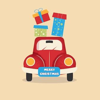 Scheda dell'annata creativa di capodanno felice anno nuovo. macchina rossa, regali. contenuti per le vacanze.