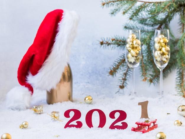 Biglietto festivo di capodanno con numeri 2021.