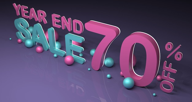 Rappresentazione dell'insegna 3d di vendita del nuovo anno