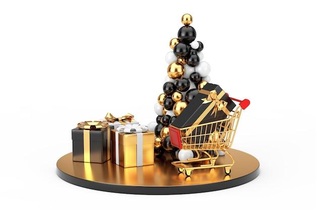 Concetto di acquisto del nuovo anno. palline dorate a forma di albero di natale, carrello della spesa in oro e scatole regalo su sfondo bianco. rendering 3d