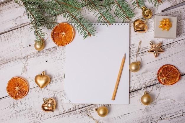 Sfondo di nuovi anni lista dei desideri di nuovi anni blocco note vuoto