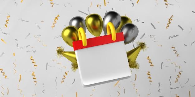 Modello di calendario di capodanno con palloncini e coriandoli copia spazio illustrazione 3d