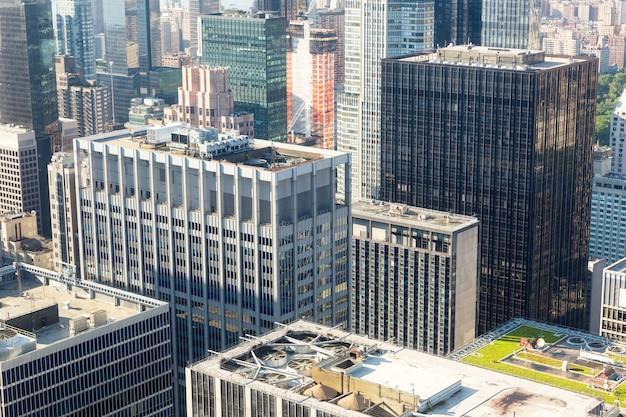 Primo piano del centro della città di new york