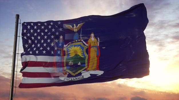 Bandiera di new york e stati uniti d'america sul pennone. bandiera mista usa e new york che fluttua nel vento