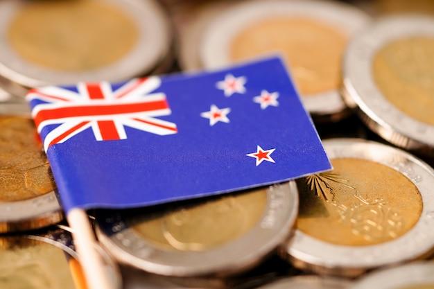 Bandiera della nuova zelanda sulle monete