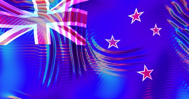 Bandiera della nuova zelanda con riflessi arcobaleno lgbt.