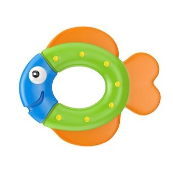 Giocattolo di pesce neonato per la dentizione su sfondo bianco. rendering 3d