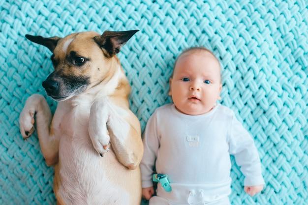 Neonato che si trova con il cucciolo divertente sveglio sul letto.