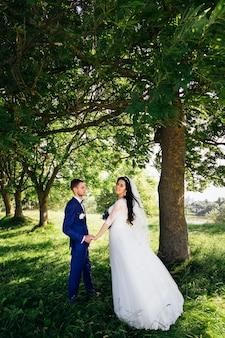 Gli sposi si tengono per mano nel parco e sposa in posa
