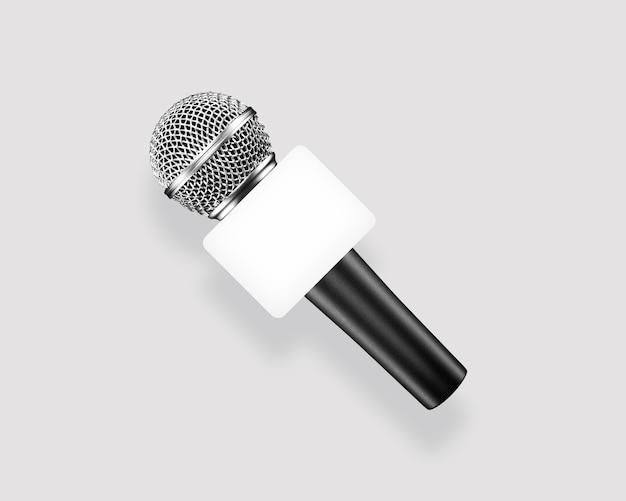 Microfono di ancoraggio di notizie su grigio, vista dall'alto