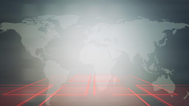 Animazione grafica intro di notizie con griglia e mappa del mondo, sfondo astratto. stile di illustrazione 3d elegante e di lusso per notizie e modelli di business