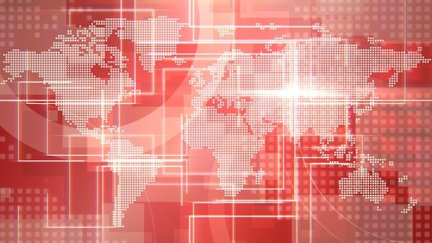 Animazione grafica intro di notizie con linee e mappa del mondo, sfondo astratto. stile di illustrazione 3d elegante e di lusso per notizie e modelli di business