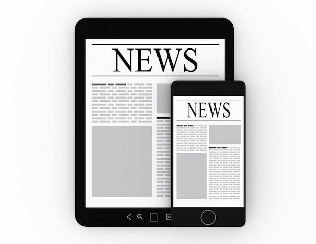 Notizie sui moderni dispositivi digitali. 3d rendering illustrazione
