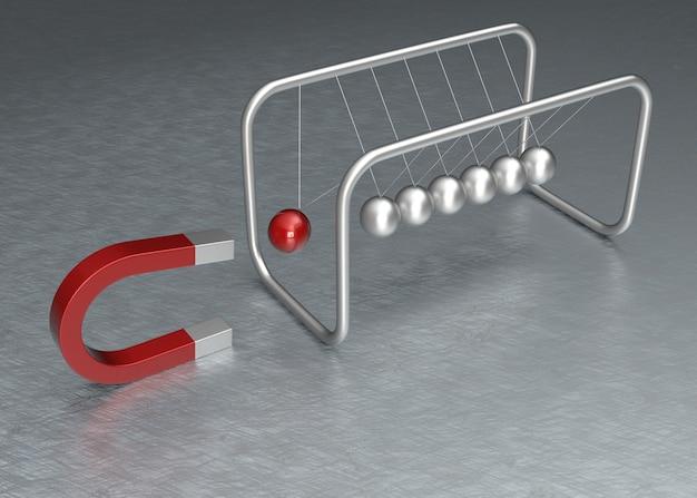Culla di newton e concetto di magnete a ferro di cavallo. rendering 3d