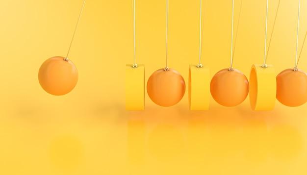 Pendolo di newton realizzato con anelli e sfere. sfondo astratto 3d rendering nei toni del giallo.