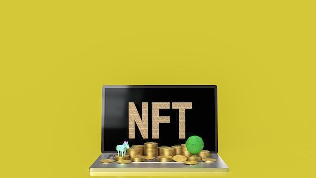 Il nft o token non fungibile per il rendering 3d di concetto di arte e tecnologia