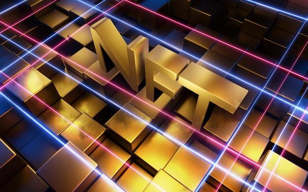 Nft parola su sfondo astratto. rendering 3d