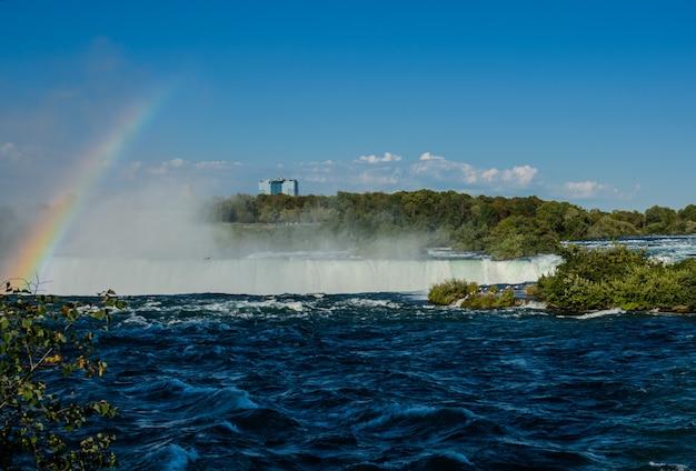 Cascate del niagara, ferro di cavallo e rainbow. bellissimo arcobaleno multicolore sullo sfondo di una cascata