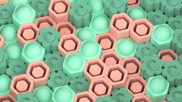 Bello sfondo esagonale astratto. esagoni verde e arancione chiaro. rendering 3d