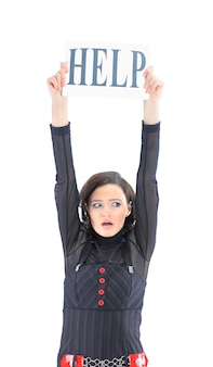 Una simpatica donna d'affari chiede aiuto