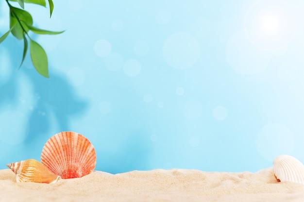 Bella cornice estiva con sabbia dorata, conchiglie e foglie verdi di piante tropicali