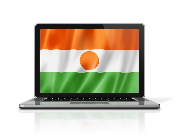 Bandiera del niger sullo schermo del computer portatile isolato su bianco. rendering di illustrazione 3d.