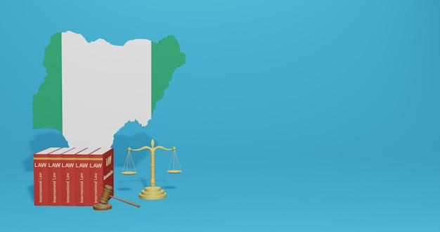 Legge della nigeria per le infografiche, i contenuti dei social media nel rendering 3d