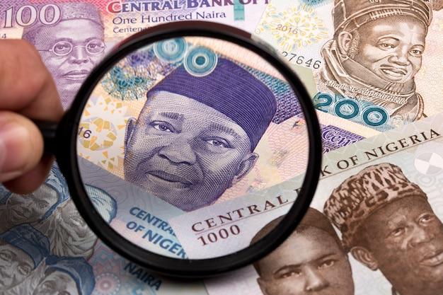 Denaro nigeriano in una lente di ingrandimento un background aziendale