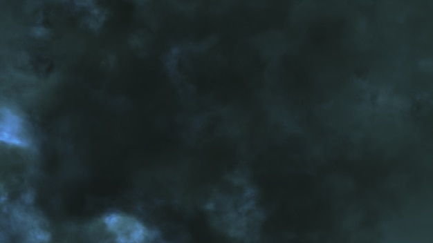 Di notte volando attraverso fulmini e temporale illustrazione 3d
