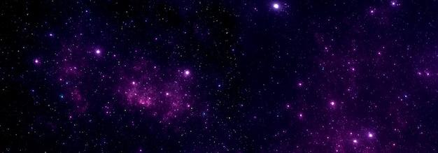 Cielo stellato viola notturno con una nebulosa nello spazio profondo