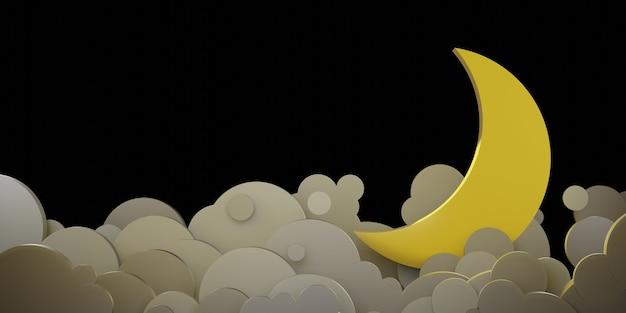 Cielo notturno e nuvole luna piena e stelle nell'illustrazione 3d di stile del taglio della carta del cielo