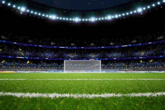 Arena dello stadio di calcio notturno con rendering di foto di alta qualità dei fan della folla