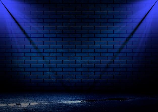 Vista notturna di una strada buia, proiezione astratta su una parete vuota.