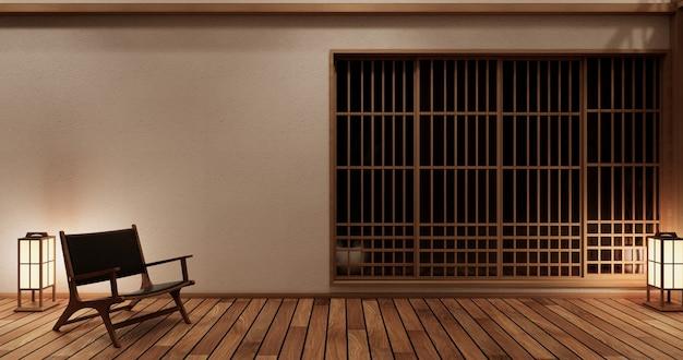 Interni di design della camera nihon con porta carta e mensola armadio a parete su pavimento in tatami in stile giapponese. rendering 3d