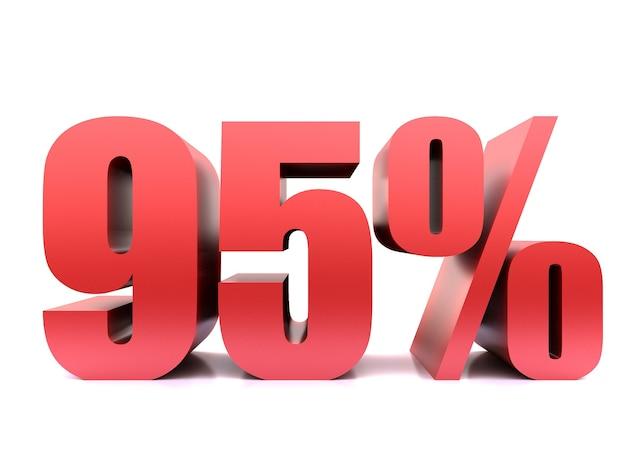 Il novantacinque percento del 95% di simbolo. rendering 3d