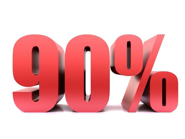 Simbolo del novanta percento 90% rendering 3d