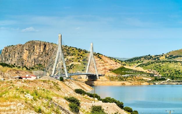 Il ponte dell'eufrate nissibi attraverso il lago ataturk diga sul fiume eufrate nel sud-est della turchia
