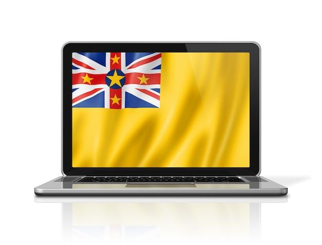 Bandiera niue sullo schermo del computer portatile isolato su bianco. rendering di illustrazione 3d.
