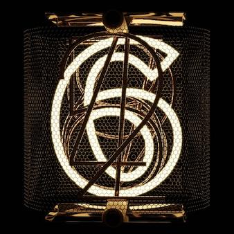 Indicatore tubo nixie primo piano cifra 6 sei numeri in stile retrò su sfondo nero rendering 3d