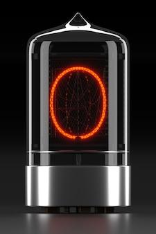 Indicatore tubo nixie, indicatore di scarica del gas della lampada su superficie scura. lettera