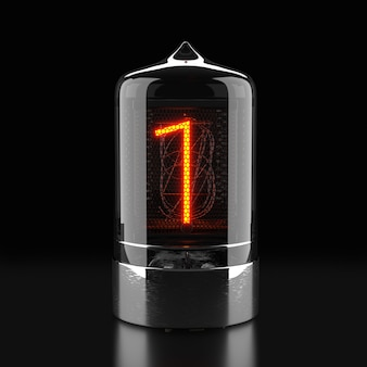 Indicatore tubo nixie, indicatore di scarica del gas della lampada su superficie scura. il numero uno del retrò. rendering 3d.