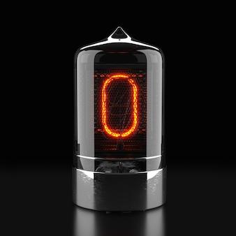 Indicatore tubo nixie, indicatore di scarica del gas della lampada su superficie scura. il numero zero di retro. rendering 3d.