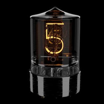Indicatore tubo nixie, numero 5. stile retrò. 3d rendering illustrazione.
