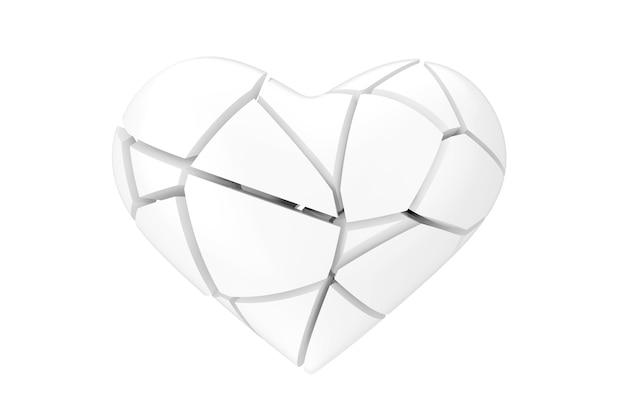 Nessun simbolo di amore. cuore bianco spezzato in stile argilla su uno sfondo bianco 3d rendering