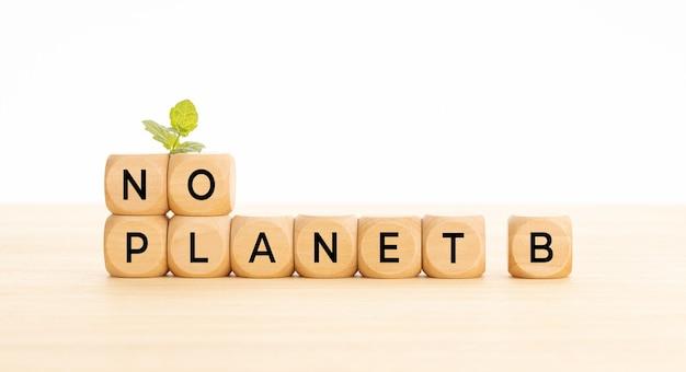 Nessuna frase del pianeta b in blocchi di legno sul tavolo. sfondo bianco. copia spazio