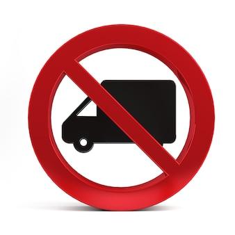 Nessun segno di camion isolato su sfondo bianco rendering 3d.