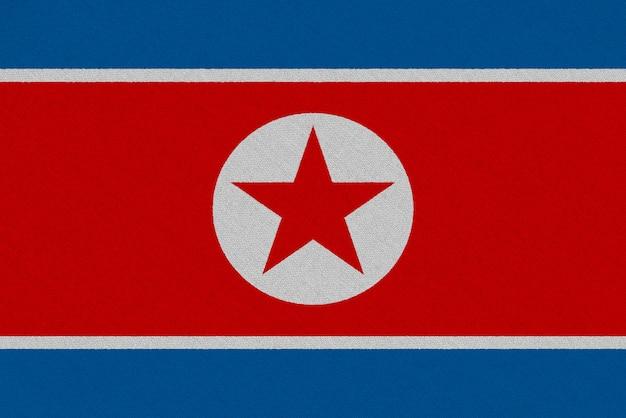Bandiera del tessuto della corea del nord